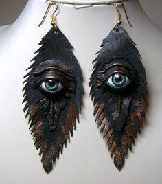 Evil eye leather earrings.  Feather earrings. Halloween earrings   LeatherJewelryArt - Leather Craft on ArtFire