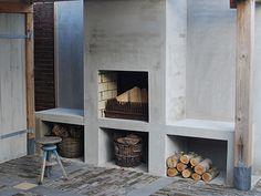 buitenhaard~ Style By Gj *~ Garden Room, Outdoor Kitchen Design, Outdoor Rooms, Fireplace Bookshelves, Outdoor Fireplace Pizza Oven, Modern Outdoor Fireplace, Built In Braai, Outdoor Kitchen, Diy Fireplace