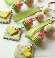Cupcake & #heart #polymer charms
