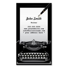 Writer Typewriter Business Card | Writer Business Cards ...
