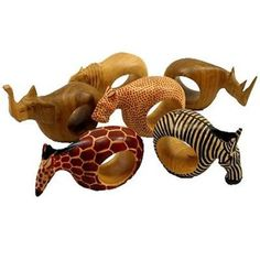 Have some fun this Thankgiving with a Set of Six Mahogany Wood Animal Napkin Rings - Jedando Handicrafts from ArtisansExchange.org