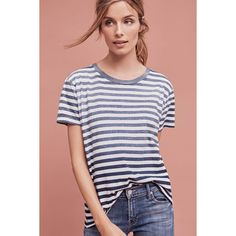 Levi's Striped Boyfriend Tee ($40) ❤ liked on Polyvore featuring tops, t-shirts, dark blue, dark blue t shirt, boyfriend tank top, striped t shirt, cotton tees and dark blue top