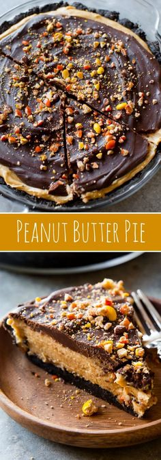 No bake peanut butter pie complete with Oreo crust, Reese's Pieces, rich and thick peanut butter filling, and smooth chocolate ganache!