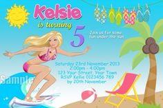 Beach Barbie surfing invitation