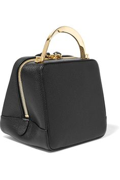 The Volon - Cube Mini Textured-leather Shoulder Bag - Black Mini Purse, Mini Bag, Leather Shoulder Bag, Shoulder Strap, Shoulder Bags, Brown Earrings, Mini Handbags, All Black Outfit, Fashion Bags