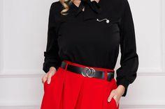 Bluza dama SunShine neagra office scurta din voal cu croi larg si guler tip esarfa Blouse, Long Sleeve, Sleeves, Tops, Women, Fashion, Moda, Long Dress Patterns, Fashion Styles