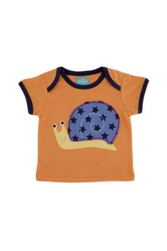 Snail Patch embroidery T-Shirt with envelope neck.