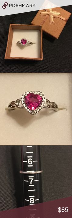 Authentic 925 Kay jewelers ring Authentic stamped 925 Kay jewelers Size 6.5 pink sapphire heart ring with Diamonds.The ring is in excellent condition.Please No Lowball offers.I'm always accepting Reasonable offers. Kay Jewelers Jewelry Rings