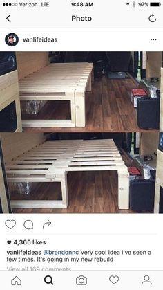 30 Easy & Creative DIY Home Decor Ideas on A Budget Tutorial Möbel bauen diy Camper Beds, Diy Camper, Camper Table, Diy Sofa, Diy Daybed, Kombi Home, Camper Van Conversion Diy, Cargo Trailer Conversion, Van Living