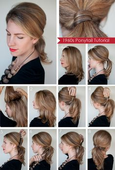 Hairstyle how to: Create a 1960s style ponytail -- detailed photo tutorial with step-by-step written instructions. Good for a semi-formal event or as wedding guest.