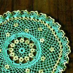 Yellow Flowers in Green Crocheted Lace - A Spring Flower Country Doily | RSSDesignsInFiber - Crochet on ArtFire