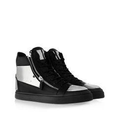 ef03e109ea64d Giuseppe Zanotti - A silver palette for this total black tumbled calfskin  high-top sneaker