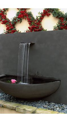 Concrete Modern Water Fountain in Patio Design Ideas Patio Water Fountain : Making Different Effect for Your Patio Indoor water fountains Modern Outdoor Fountains, Modern Fountain, Fountain Design, Fountain Ideas, Patio Water Fountain, Indoor Water Fountains, Indoor Fountain, Fountain Garden, Water Garden