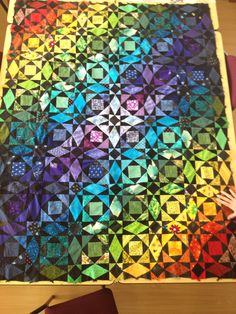 Rainbow storm at sea quilt - just needs the borders and then quilting. Teal Quilt, Nautical Quilt, Patchwork Quilt Patterns, Applique Quilts, Quilting Projects, Quilting Designs, Quilting Ideas, Storm At Sea Quilt, Bargello Quilts