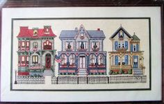 "Bucilla Counted Cross Stitch Victorian Houses Vintage Counted Cross Stitch Kit   Bucilla 40035 8""x 16"""