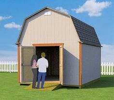 12x16 barn shed plans with doors on end wall Building A Storage Shed, Shed Building Plans, Shed Storage, Shed Plans, Cabin Plans, Garage Storage, Building Ideas, House Plans, Build A Shed Kit