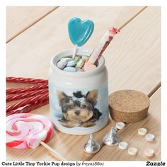 Cute Little Tiny Yorkie Pup design Candy Jars