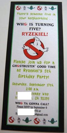Ghostbusters Themed Birthday Party Invitations 12 by AnyGoodIdeas Ghostbusters Birthday Party, Woody Birthday, 6th Birthday Parties, Halloween Birthday, Ghostbusters Theme, Birthday Ideas, Childrens Party, Birthday Party Invitations, Party Time