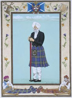 Miniature painting entitled Laird Singhs his Tartan's Praises, fifth of a series of six, charting the life of his Lordship Sirdar Iqbal Singh, Laird of Lesmahagow, poster paint, gouache and gold dust on mountboard: England, Cheshire, Prenton, by The Singh Twins, 2000.