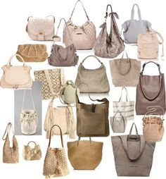 """Soft Summer / """"Light Neutral Bags"""" by mpsakatrixie on Polyvore"""