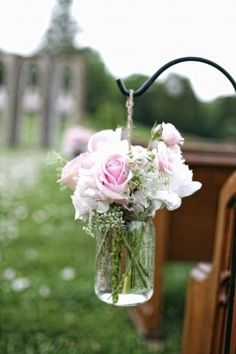 Rose bouquet in mason jars for tables  {mason jar, decoration, roses, outdoor, shepherd's hook}