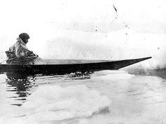 Inuit man in a kayak on Hudson Bay, Manitoba - 1903
