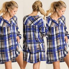 Plaid Button Down Tunic in Blue Plaid button down with ruffled back hem. Do not purchase this listing, comment on size and a separate listing will be made. Offers placed on listing will be ignored. Thank you! Any questions please ask! Tops Tunics