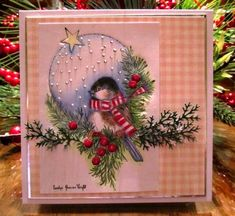 Christmas card ... Winter Chickadee ... sweet little bird wearing a winter scarf ...lovely coloring and arrangement of folliage ...