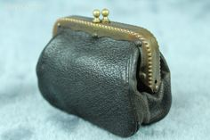 ~ Antique Victorian Black Leather Sovreign Coin Vintage Purse Wallet Case Bag ~ | eBay