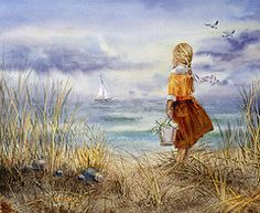Watercolor Paintings - A Girl And The Ocean by Irina Sztukowski