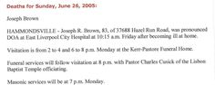 Joseph Brown Obit - Photos and Stories — FamilySearch.org. Shirley's Uncle.