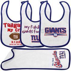 Gerber New York Giants Infant White-Royal Blue 3 Bibs & Burp Cloth Set