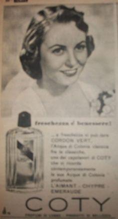 """www.piziarte.net La pubblicità negli anni 50 """"COTY"""" dalla rivista settimanale """"Il Tempo"""" 1954."""
