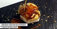#Receta de Corazón de trufa con salsa Perigueux. Ingredientes: patata, foie, trufa... Propuesta del Restaurante El Rincón del Nazareno para la Ruta Dorada de la Trufa. En Almazán, Soria.