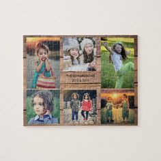 Family collage 6 photos and family name jigsaw puzzle Family Photo Collages, Family Collage, 6 Photos, Family Photos, Name Photo, Christmas Card Holders, Custom Photo, Gifts For Kids