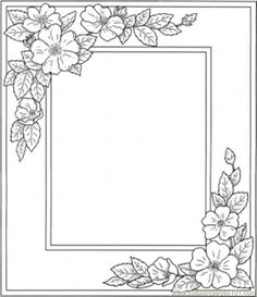printable flower coloring pages | free printable coloring page Photo Frame With Flowers (Other ...
