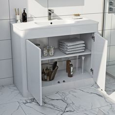 Mode Carter ice white vanity unit and basin White Vanity Unit, Basin Vanity Unit, Vanity Units, Extra Storage Space, Storage Spaces, Stow Away, Furniture Packages, Basin Mixer Taps, Mirror Cabinets