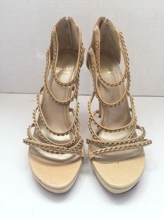 Stuart Weitzman Taupe Patent Leather SIze 8.5 Ankle Strap Sandals  High Heel #StuartWeitzman #Strappy