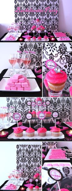 Bachelorette Party Sweet Table / Pink and Black color palette - Mesa de postres y dulces para despedida de soltera en colores rosa y negro