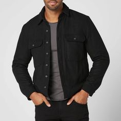 [Sherpa Lined Shirt] Mens Sherpa Lined Shirt Jacket in Black Jacket Men, Shirt Jacket, Leather Jacket, Stylish Mens Outfits, Casual Outfits, Men Casual, Mens Sherpa, Raw Denim, Sherpa Lined