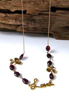 Valentine Gold Love Necklace Garnet Wire Wrap Necklace by amyfine