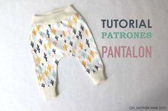 DIY Tutorial y patrones de legins para niños o bebés: como hacer paso a paso estos pantalones tipo legins. Los patrones los tenéis disponibles y gratis en el...