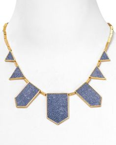 """House of Harlow 1960 Sapphire Blue Faux Stingray Five Station Necklace, 18""""  Bloomingdale's"""