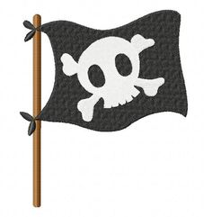 Free Pirate Flag Embroidery Design, Free Download Available Only For December 24th at: www.embroideryocean.com