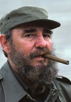 Fidel Castro smoking a Cohiba cigar in Havana, Cuba. 1984.