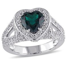 1.5 CT. T.W. Created Emerald and 2.12 CT. T.W. Created White Sapphire Ring in Sterling Silver