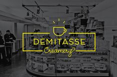 Identity and packaging for fictional ice cream & coffee shop, Demitasse Creamery. Student work.