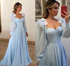 Long Sleeves Elegant Sky Blue Prom Dresses Feathers Flowers Evening Dresses Online - Party Dresses and Party Outfits Long Sleeve Evening Dresses, Evening Dresses Online, Long Sleeve Gown, Blue Evening Dresses, Prom Dresses Long With Sleeves, Evening Gowns, Dress Long, Evening Party, Long Dresses