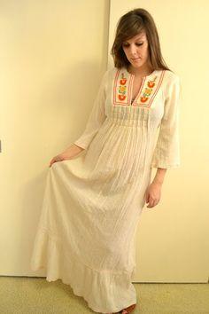 $62.00 70s Hippie Embroidered Long Maxi Dress Woodstock Wedding Dress Festival