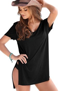 T-shirt Femme Noir Manches Courtes Confortable Maillots de bain Cover-up MB42129-2 – Modebuy.com